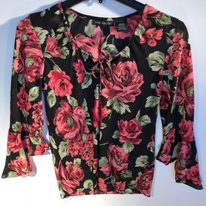 Impressions M roses on black blouse bell long slee